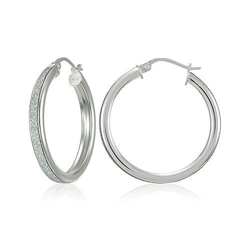 Sterling Silver Glitter - Sterling Silver Glitter 20mm Round Hoop Earrings