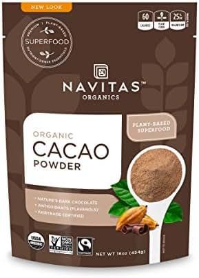 Navitas Organics Cacao Powder, 16 oz. Bags (Pack of 2) — Organic, Non-GMO, Fair Trade, Gluten-Free