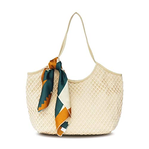 Trendy Canvas Mesh Beach Bag and Totes for Women, Lightweight Shoulder Bag for Travel ()