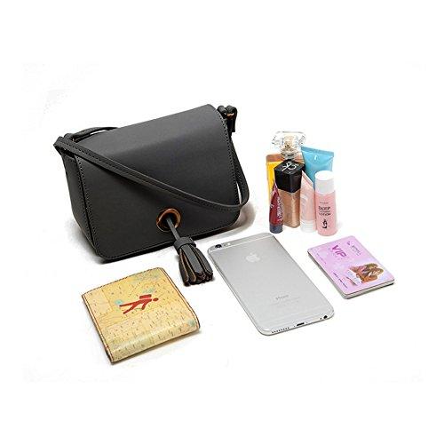 Huluwa Women's Crossbody Bag, Single Shoulder Bag with Tassel Accent, Mini Handbag Cellphone Pouch Purse Wallet for Women Grils, Black