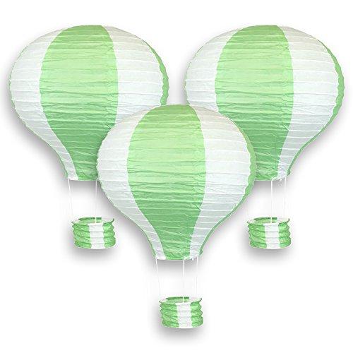 Just-Artifacts-Decorative-12-Hot-Air-Balloon-Paper-Lanterns-3pcs-Green-White