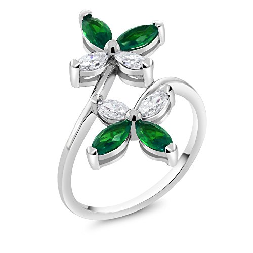 Genuine Marquise Emerald Ring (925 Sterling Silver Marquise Nano Emerald Butterfly Women's Ring (Ring Size 7))