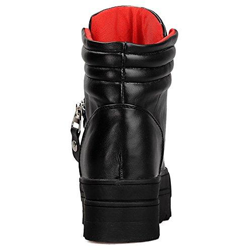 AgooLar Women's PU Low-top Solid Lace-up Kitten-Heels Boots Black 1RMDJIx