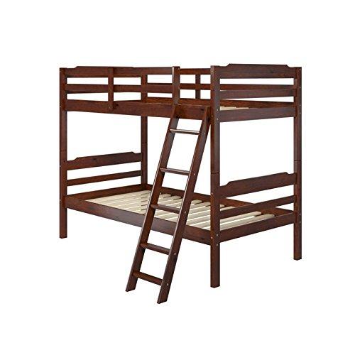 Manhattan Comfort Hayden 3.0 Collection Solid Pine Wood Twin Size Convertible Children's Bunk Bed Set, Twin, Matte Brown