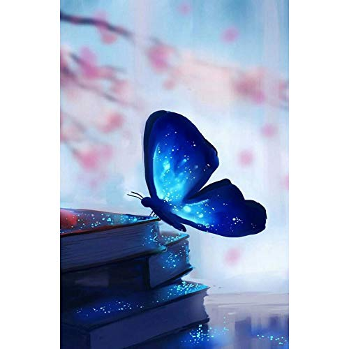 DIY 5D Diamond Painting by Number Kits, Crystal Rhinestone Diamond Embroidery Paintings Pictures Arts Craft for Home Wall Decor, Full Drill, Glowing Butterfly Fluorescence (J5115-11.8X15.7in)