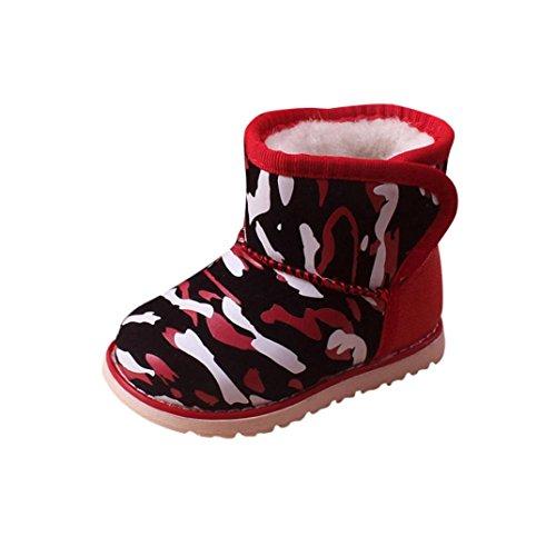 Babyschuhe Longra Winter Baby Junge Mädchen Kind Kunstleder Schneeschuhe Camouflage Stiefel Warm Boot Schneestiefel(12 Monate-6Jahre) Red