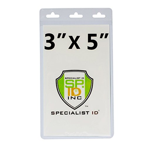 10 Pack - Clear Vertical 3X5 Vinyl Oversized ID Badge or Ticket Holder - 3 X 5 Inches (XL35V) by Specialist ID