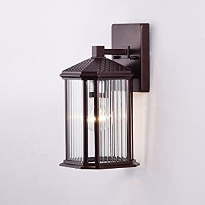 Truelite Industrial Vintage Outdoor Metal Wall Sconce Clear Ribbed Glass Panel Wall Lantern