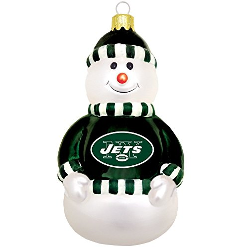 New York Jets Glass Snowman Ornament