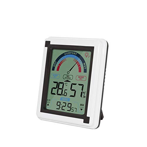 Blingdots Temperature and Humidity Meter, LCD Large Screen Electronic Thermohygrometer with Alarm Clock Backlight Thermohygrometer
