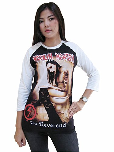 Rerock4ever Womens Marilyn Manson The Reverend Rock Band Raglan T-Shirt (Small)