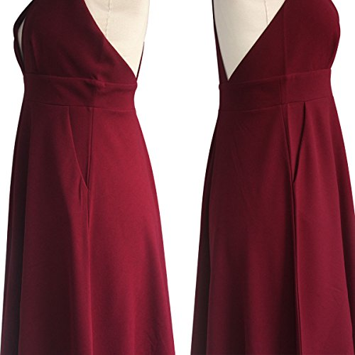 Summer Women's A-Line Sleeveless Deep V-Neck MIDI Dress (M, Burgandy) by YOOHOG (Image #7)