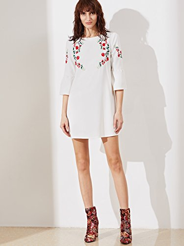 ff702854212 Floerns Women s Bell Sleeve Embroidered Tunic Dress - Delocus Store