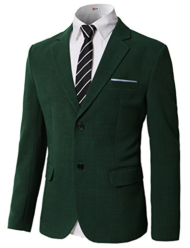H2H Man Notched Lapel Padded Shoulders Two-Button Long Sleeves Blazer Green US L/Asia XL (KMOBL0124)