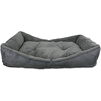 All for Paws Lambswool Bolster Pet Bed, 41 by 26-Inch, Grey