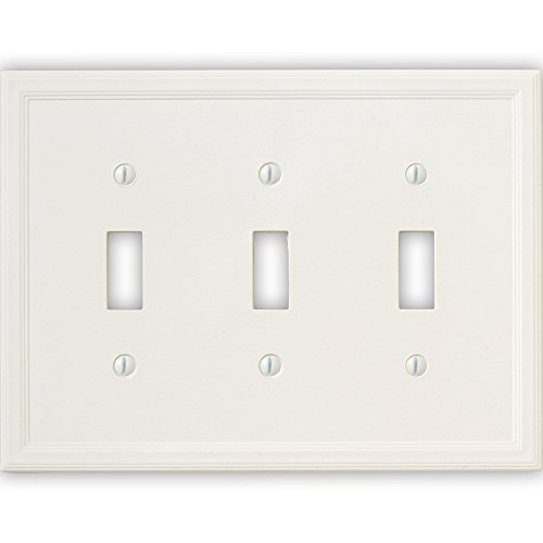 Questech Cornice Insulated Decorative Switch Plate/Wall Plate Cover – Made in the USA (Triple Toggle, White) by Questech