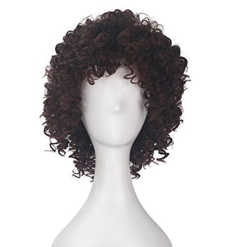 (Miss U Hair Short Curly Brown Hair Girl Wild Saucerman Halloween Costume)
