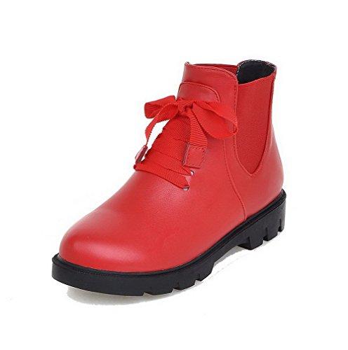 AllhqFashion Mujeres Pu Caña Baja Sólido Cordones Mini Tacón Botas Rojo