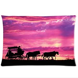 Beautiful Sunset Background Design Carriage Pillowcase,Twin Sides Pillowcase Pillow Cover 20x30 inches