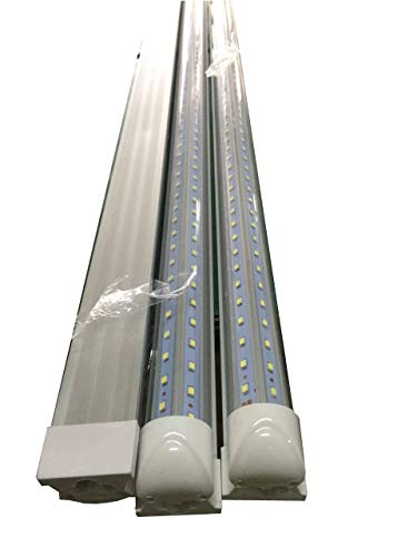 CIDASXL T8 LED Tube for 4 feet, 48 inches, 24W, V-Type Double Row lamp - 192pc LED, 6000K Color Temperature, 2500 lumens, 50,000 Hours! LED Tube, Transparent Cover,UL and CE Certification ()