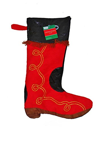 (Deluxe Red Faux Suede and Leather Cowboy Boot Christmas Stocking with Gold Details and Fringe)