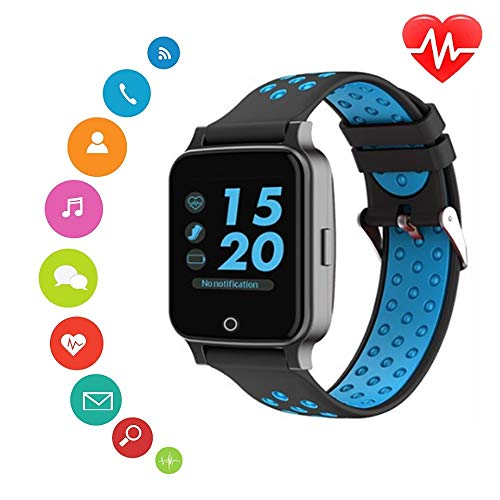 2019 New Bluetooth Smart Watch- KKcite Bluetooth Fitness Tracker Sports SmartWatch, Waterproof Touch Screen Watch with Blood pressures Heart Rate Monitor Calories, Compatible Android&iOS Phones (Blue)