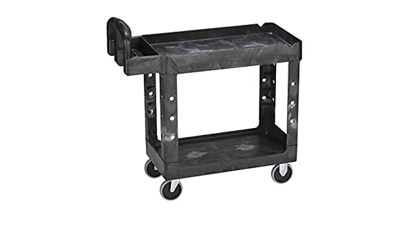 Amazon.com: Rubbermaid 640-4500-88-BLA HD 2-Shelf Utility Cart with Small Lipped Shelf, Black, 39