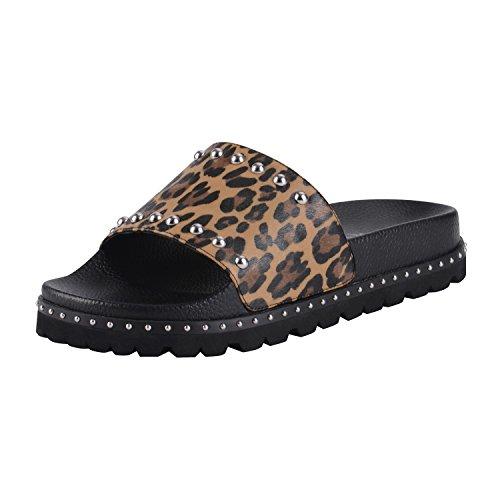 ASHOE DESIGN Women's Flat Slide Sandal Comfortable Footbed Silver Studs Embellished-Leopard Printed 014-37 014-37 (Print Sandals)