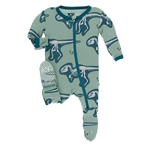 Green Christmas Pajama - Kickee Pants Little Boys Print Footie with Zipper - Shore T-Rex Dig, 5 Years