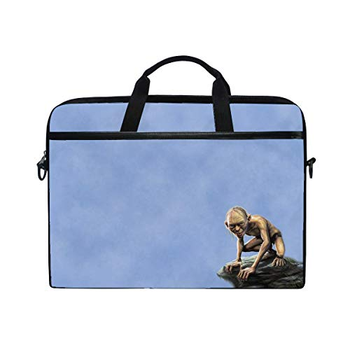 (The Lord of The Rings Gollum Minimalism Art Laptop Shoulder Messenger Bag Case Sleeve for 14 Inch to 15.6 Inch with Adjustable Notebook Shoulder Strap )