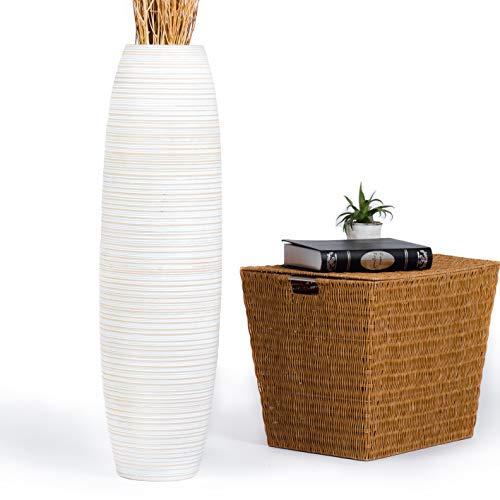 Leewadee Tall Big Floor Standing Vase for Home Decor 36 inches, Mango Wood, White wash (Floor Vase Extra Large White)