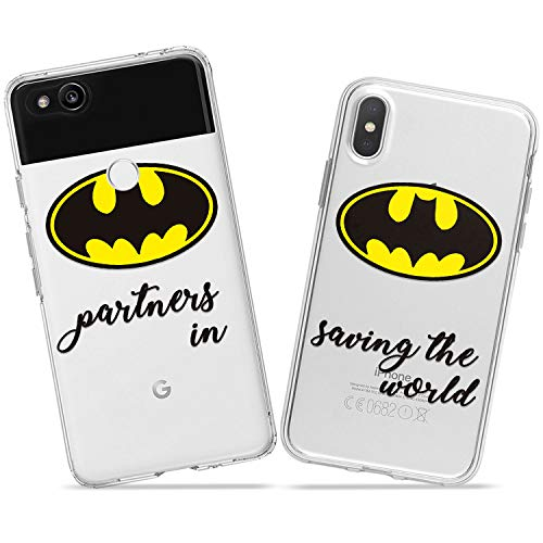 Wonder Wild Superhero Partners Couple Case iPhone Xs Max X Xr 10 8 Plus 7 6s 6 SE 5s 5 TPU Clear Gift Apple Phone Cover Print Protective Double Pack Silicone Batman Matching Logo Minimalism Friends