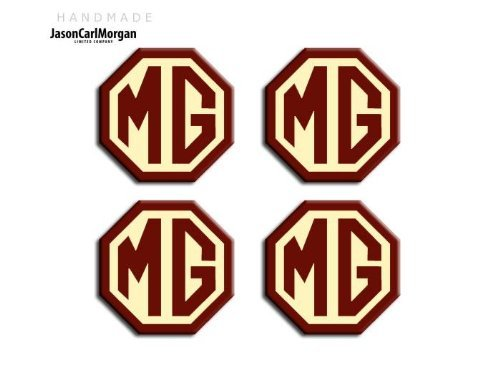 OCT45mm JasonCarlMorgan MG TF OEM Style Burgundy /& Cream Alloy Wheel Centre Cap Badges