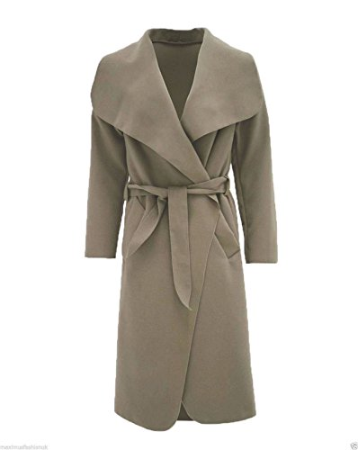 Women Long Belted Italian Waterfall Mocha Jacket Ladies One 16 Top Hina Sleeve Size Coat 8 Fashion Fits x5qg1wnAY