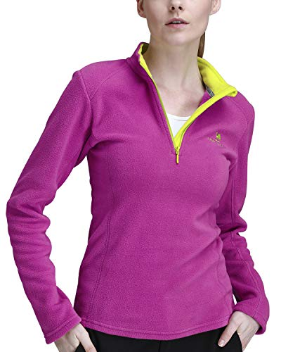 CAMEL CROWN Fleece Jacket Women Soft Warm Tops 1/4 Zip Lightweight Long Sleeves Sweaters Pullover Sweatshirt Coat Purple XL - Top Sleeve Long Fleece Polar
