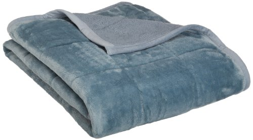 Northpoint Baroque Quilted Berber Reversible Throw Blanket, Slate