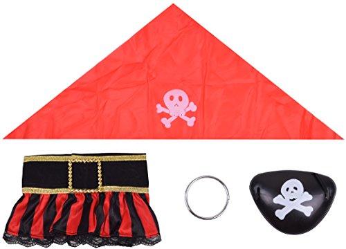 Halloween Accessories Mens Costume Pirate Kerchief Earrings Leg Sleeves Eye Patch