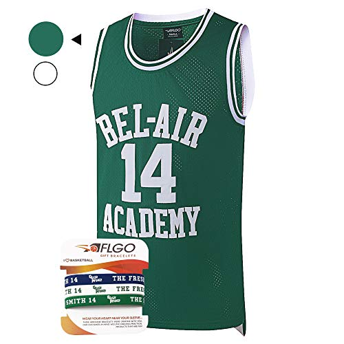 (AFLGO Fresh Prince of Bel Air #14 Basketball Jersey S-XXXL - 90's Clothing Throwback Will Smith Costume Athletic Apparel Clothing Top Bonus Combo Set with Wristbands (Green, Large))