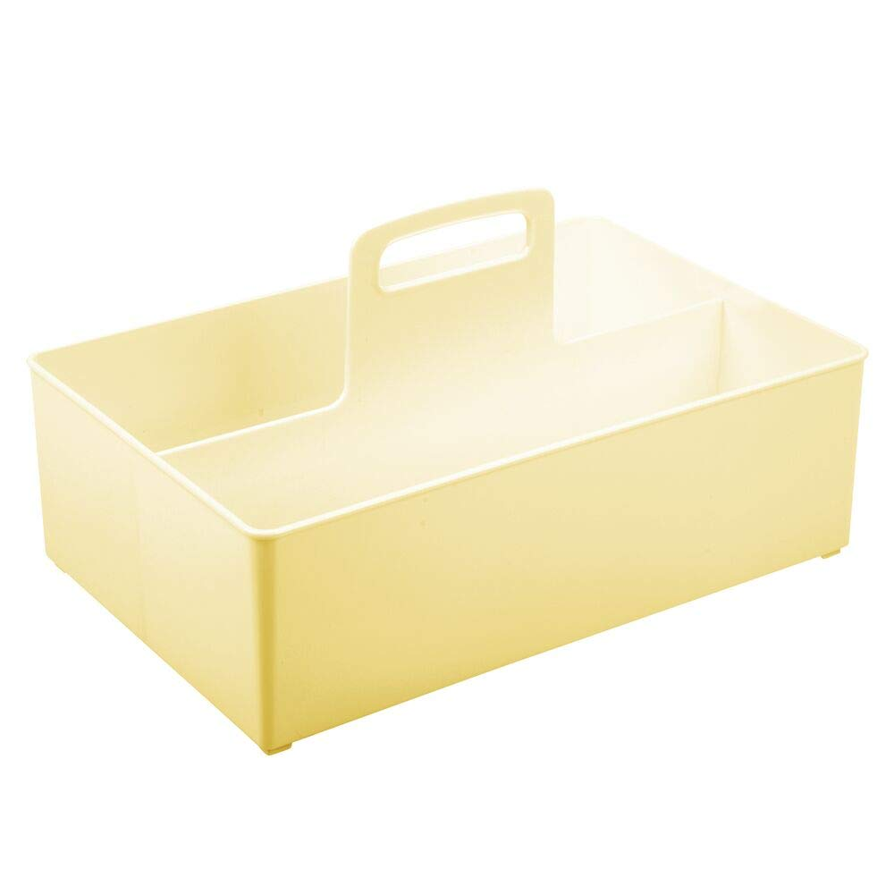 gel y cosm/éticos mDesign Caja organizadora con 2 compartimentos Cesta para ba/ño de pl/ástico sin BPA Organizador de accesorios port/átil para champ/ú amarillo claro