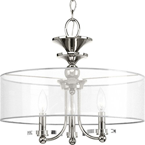 Progress Lighting P350029-104 Marché Three-Light Semi-Flush Convertible, Polished Nickel - Convertible Semi Flush 3 Light