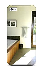 DSckApe8434bzPbZ White Spacious Contemporary Bathroom With Wood Tub Surround 038 Stone Tile Floor Fashion Tpu 5c Case Cover For Iphone