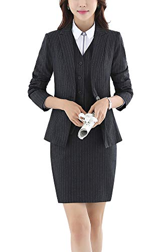- Women's Three Pieces Office Lady Blazer Suits Business Suit Set Women Suits Work Jacket,Vest&Skirt Suit