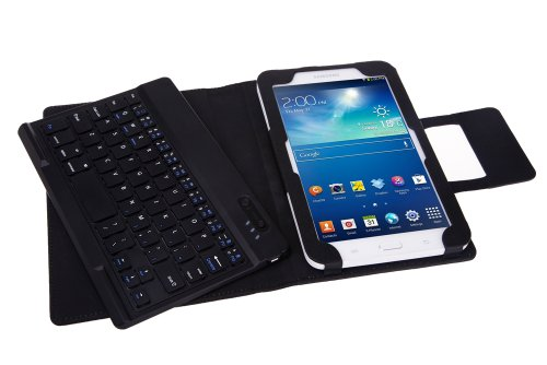 NEWSTYLE Wireless Bluetooth ABS Hard Keys Keyboard PU Leather Tablet Stand Case For Samsung Galaxy Tab 3 Lite 7.0 Tablet
