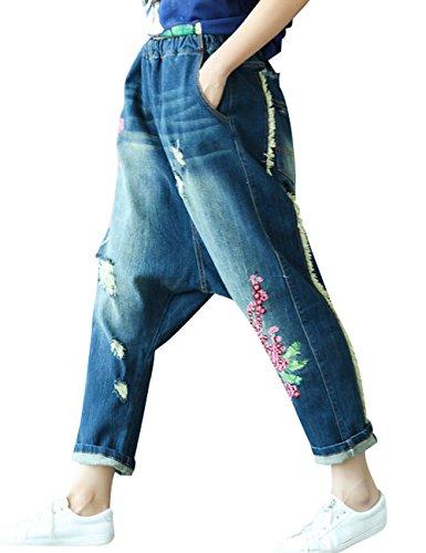 Jeans Youlee Pantalons Elastique Femmes Drop Bleu Taille Crotch Brodé Sarouel 8N0nwvm