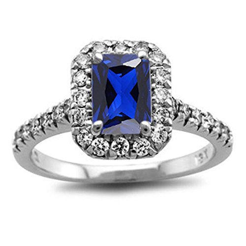 TVS-JEWELS White Platinum Plated Ladies Solitaire With Accents Anniversary Ring (5.75) by TVS-JEWELS