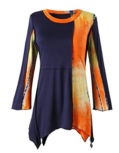 Jmwss QD Women Fashional Cowl Neck Long Sleeved Tie Dye Casual Irregular Hem Tee 1 M Long Sleeved Tie Dye
