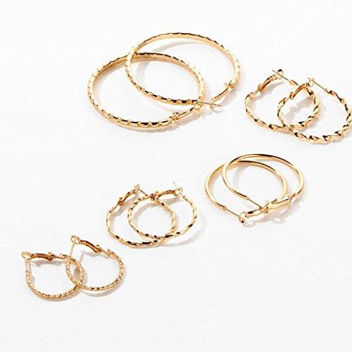 Elogoog Simple Style Silver Gold Geometric Big Circle Round Small Hoop Earrings 5 Pairs (Hoop Necklace Necklace Hoops)