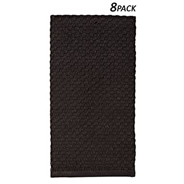 Cotton Craft - 8 Pack Black EuroCafe Waffle Weave Terry Kitchen Towels 16x28, 100% Ringspun 2 Ply Cotton Highly Absorbent Low Lint, Professional Grade 400 Grams, Multi Purpose Bar Mops Hand Towel