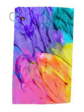Trendy Accessories Aquarelle Paint Art Artwork Design Microfiber Velour 11x18 Golf Bag Towel with Grommet and Clip