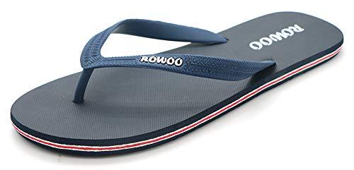 ROWOO Men's Beach Flat Rubber Sandals Flip Flops (US12/45EU, Dark Blue)